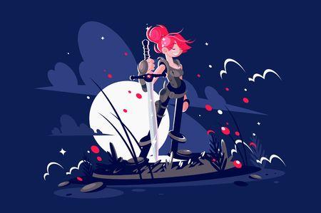 Woman warrior hero with sword on battlefield Illustration