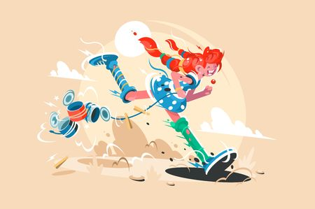 Well-known fairy tale character pippi long stocking. Cartoon funny girl. Vector illustration Illustration