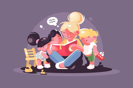 Mom reads fairy tale for kids. Teacher with group of children. Vector illustration