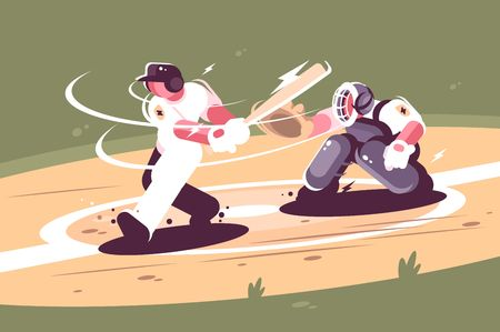 Batter strikes the ball in baseball. Concept action young man beats in game. Vector illustration. 向量圖像