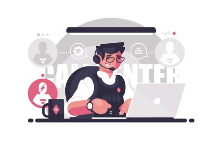 Call center employee in the workplace. Concept young man works and helps people. Vector illustration.
