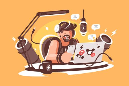 Radio, presenter broadcasting in studio. Concept awesome man with beard leads a show in chat, radio, online. Vector illustration.