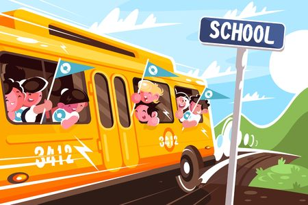 Yellow school bus leaving school. Concept happy children in transport, vehicle. Vector illustration.