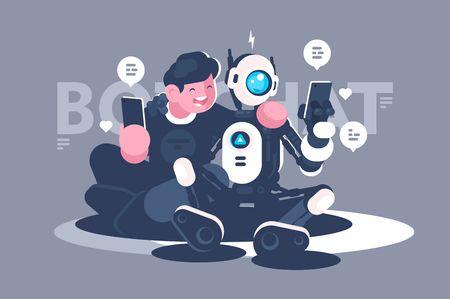 Chat bot aide l'homme dans son problème. Concept de robot avec des personnes en ligne, internet, forum, web. Illustration vectorielle.