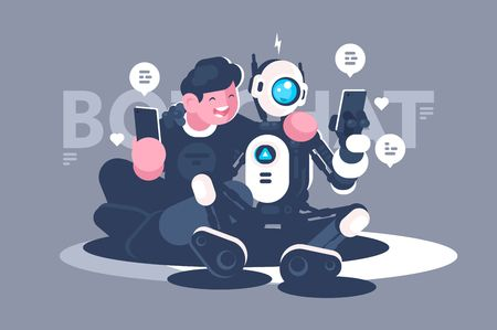 El bot de chat ayuda al hombre en su problema. Robot de concepto con personas en línea, internet, foro, web. Ilustración de vector.
