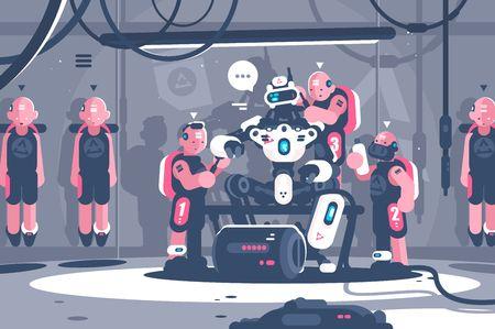 Gente esclava jefe robótico de inteligencia artificial. Cyborg clon sirviente de traje humano para robot. Plano . Ilustración vectorial Ilustración de vector
