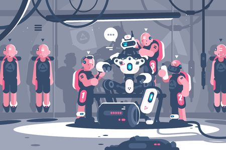 People slaving artificial intelligence robotic boss. Cyborg clone human suit servant for robot. Flat . Vector illustration Illustration