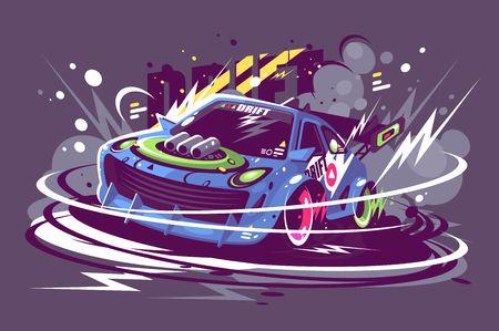 Power-Rennsportwagen, der auf der Rennstrecke driftet