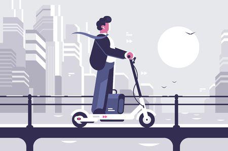 Jonge man rijden elektrische scooter moderne stadsgezicht achtergrond. Ecologie transportconcept. Vlakke stijl. Vector illustratie. Vector Illustratie