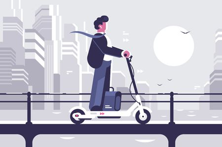 Young man riding electric scooter modern cityscape background. Ecology transport concept. Flat style. Vector illustration. Stock Illustratie