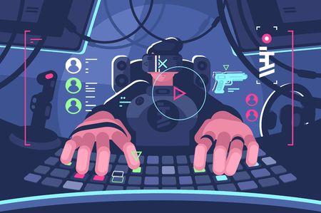 Personne professionnelle de joueur d'ordinateur de réalité virtuelle