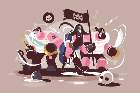 Group of mad pirates with bombs and swords weapon Stock Photo