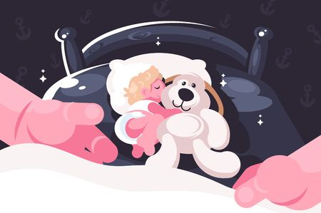 Baby sleeping in crib with toy teddy bear. Illustration