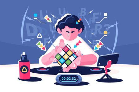 El hombre recoge el concepto de campeonato del temporizador Rubik Cube Ilustración de vector