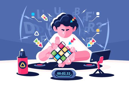 Man collect Rubik Cube timer championship concept