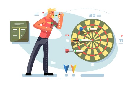 Man playing darts game championship concept.