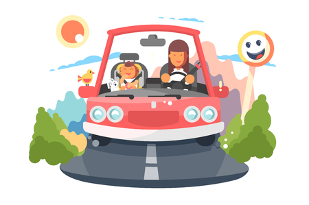 Safe driving mother with baby children car trip. Stok Fotoğraf
