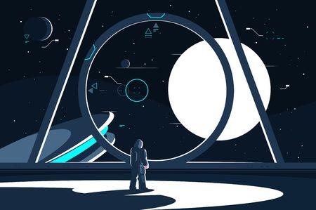 Raumanzug-Astronaut im Raumschiff mit Blick auf den Mond.