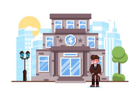 Businessman standing bank building facade exterior Banco de Imagens