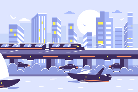 Subway train monorail over sunset cityscape.