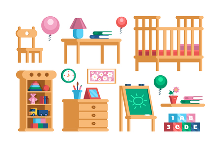 Set childrens room interior furniture collection
