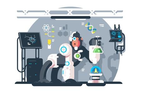 Robot monkey scientist make laboratory experiment. Artificial intelligence concept. Flat. Vector illustration.