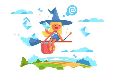 Postal fairy woman flying on a broom. Stock Photo - 117815718