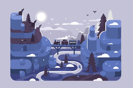 Railway at winter night landscape