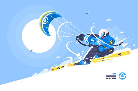 Sporty boy snowkiter on alpine skiing