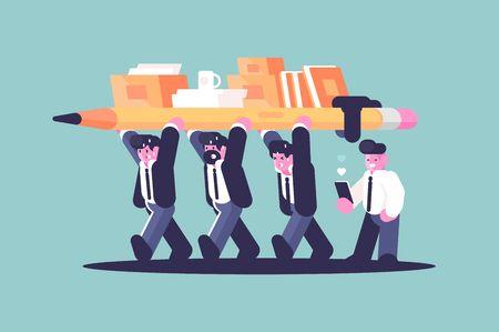 Partenariat d'affaires team building travail illustration vectorielle de style plat concept. Hommes d'affaires créatifs de dessin animé tenant ensemble des documents de crayon et de bureau