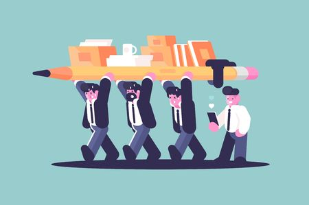 Business partnership team building work flat style concept vector illustration. Cartoon creative businessmen holding pencil and office documents together