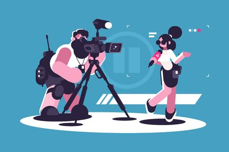 Journalist and cameraman doing report together Stock Photo