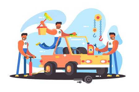 Full auto repair service. Washing and pumping wheels. Vector illustration