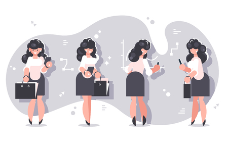 Set of cartoon businesswomen character design. Smiling woman in white blouses and black skirts standing with briefcases on charts background flat style vector illustration. Front back and side view Banque d'images - 127727330