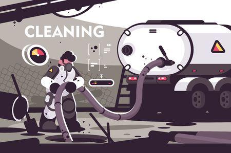 Płaski plakat usługi czyszczenia kanalizacji. Profesjonalne postacie hydraulików w mundurach pracujących przy włazie kanalizacyjnym z hydrauliką szambo służą ilustracji wektorowych Ilustracje wektorowe
