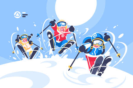 Happy children skiing flat poster. Cartoon smiling kids ski running in snowy mountain vector illustration. Winter sports at holidays. Blue sky and sun on background Vettoriali