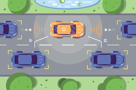 Autonomous car driving on road with sensing systems. Smart vehicle scans way observe distance and parking driverless flat style vector illustration. Future concept Stock Illustratie