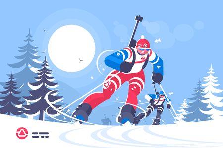 Biathlon race skiing man flat poster Illustration