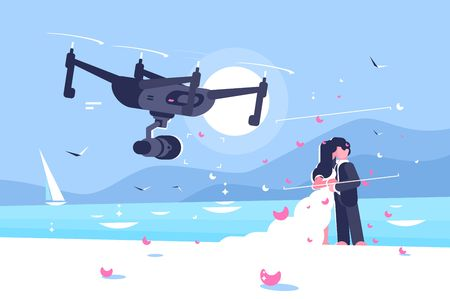 Shooting drone over wedding flat poster. Flying quadcopter shoots on camera celebration of marriage of newlyweds couple on seaside vector illustration. Modern technologies concept Ilustração
