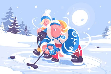 Cartoon family playing in hockey flat poster. Mom dad and little kid having good leisure time together on ice vector illustration. Winter sport. Concept of parenthood