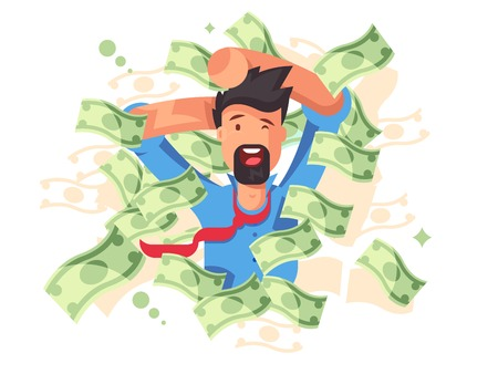 Rich smiling man bathing in money. Successful businessman or happy millionaire magnate under dollars rain flat style concept vector illustration. Wealth and success background Illusztráció