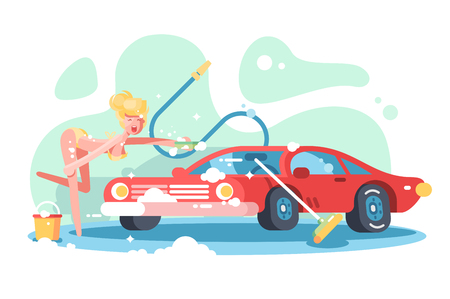 Sexy girl washing red automobile Illustration