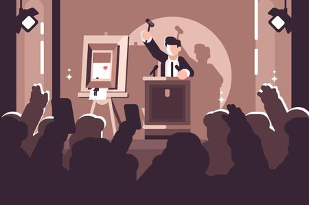 People at auction of art flat poster. Auction process with man holding gavel behind special stand near picture and human raised hands and bidding in front of him vector illustration 写真素材 - 112364265