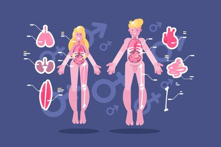 Anatomy of human body flat infographic
