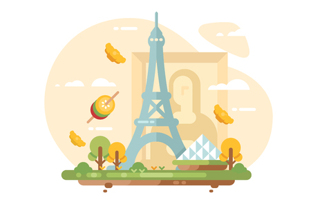 Paris city skyline flat style concept. Cityscape with all famous buildings landmarks and traditional dishes vector illustration. France for travel poster and postcard