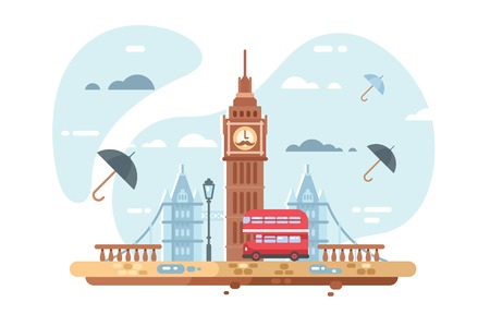 London city skyline vector illustration. Famous places of interest such as Big Ben tower and british double decker bus flat style concept. Clouds and umbrellas on background  イラスト・ベクター素材