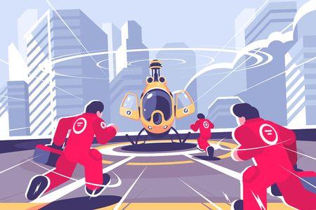 Żółty helikopter ratunkowy i płaski plakat zespołu