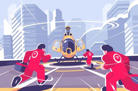 Yellow rescue helicopter and team flat poster