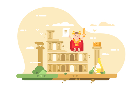 Rome city skyline flat style concept. Top famous landmark statesman and traditional dishes such as Colosseum building and Caesar with a sword vector illustration Illustration