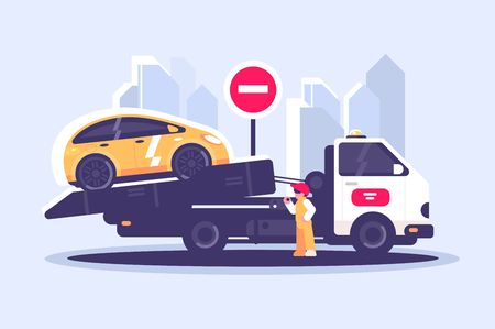 Tow truck city road assistance service evacuator. Worker evacuating yellow car near sign no entry flat style concept vector illustration. Cityscape background Banco de Imagens - 127457186
